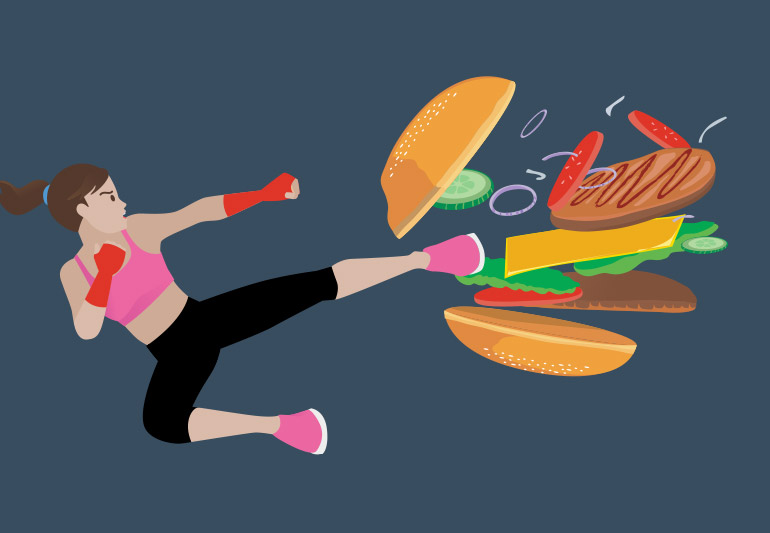 image of woman kicking food to curb cravings